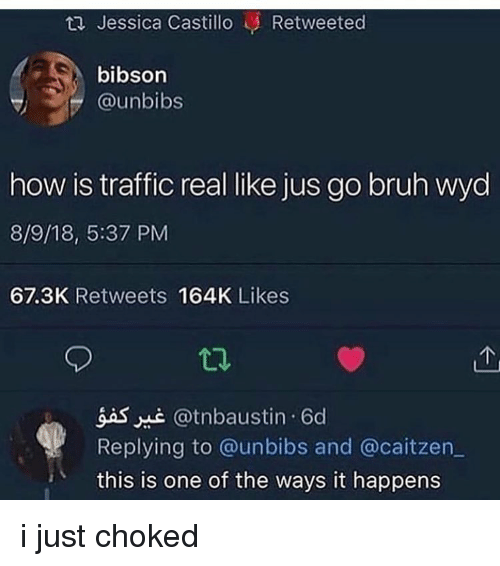 Bruh, Memes, and Traffic: ta Jessica Castillo Retweeted  bibson  @unbibs  how is traffic real like jus go bruh wyd  8/9/18, 5:37 PM  67.3K Retweets 164K Likes  gas @tnbaustin 6d  Replying to @unbibs and @caitzen  this is one of the ways it happens i just choked