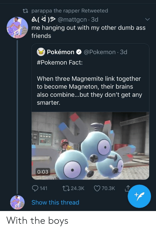 3d pokemon: ta parappa the rapper Retweeted  6 (4 @mattgcn 3d  me hanging out with my other dumb ass  friends  Pokémono @Pokemon 3d  #Pokemon Fact:  When three Magnemite link together  to become Magneton, their brains  also combine...but they don't get any  smarter.  0:03  141 t024.3K 70.3K  Show this thread With the boys