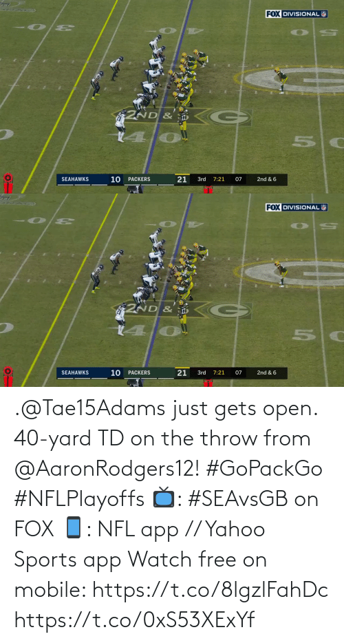 open: .@Tae15Adams just gets open.  40-yard TD on the throw from @AaronRodgers12! #GoPackGo #NFLPlayoffs  📺: #SEAvsGB on FOX 📱: NFL app // Yahoo Sports app Watch free on mobile: https://t.co/8lgzlFahDc https://t.co/0xS53XExYf