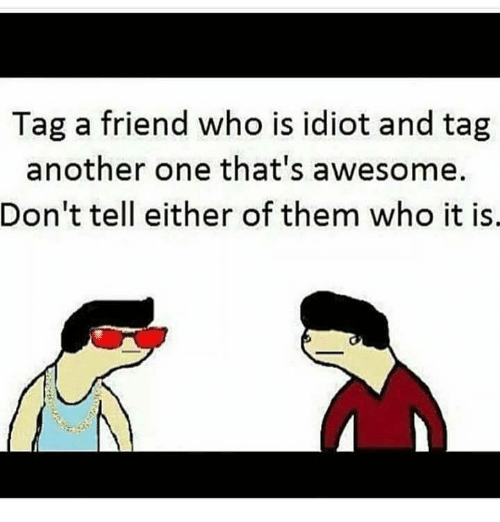 Another One, Memes, and Awesome: Tag a friend who is idiot and tag  another one that's awesome.  Don't tell either of them who it is.