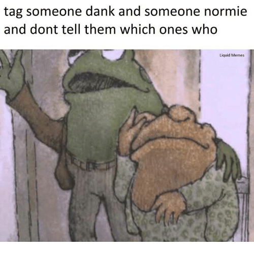 Liquidized: tag someone dank and someone normie  and dont tell them which ones who  Liquid Memes
