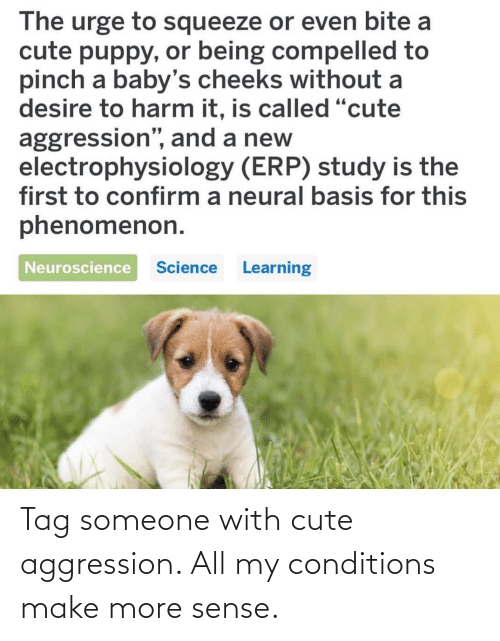 Sense: Tag someone with cute aggression. All my conditions make more sense.