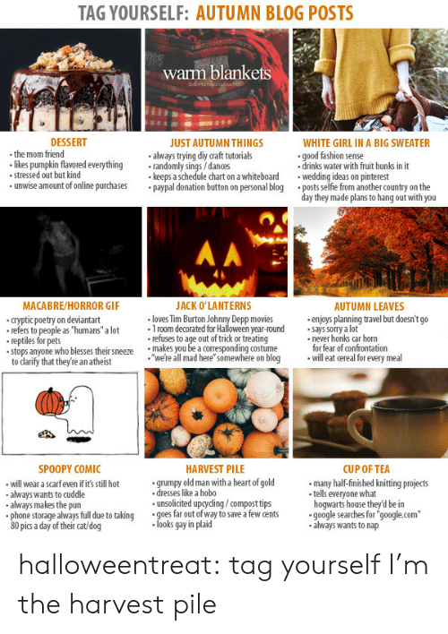 "On The Day: TAG YOURSELF: AUTUMN BLOG POSTS  warm blankets  DESSERT  WHITE GIRL IN A BIG SWEATER  .the mom friend  likes pumpkin flavored everythingrandomly sings/dances  stressed out but kind  unwise amount of online purchasespaypal donation button on personal blog  JUST AUTUMN THINGS  always trying diy raft tutorials  keeps a schedule chart on a whiteboard  good fashion sense  .drinks water with fruit hunks in it  weding ideas on pinterest  .posts selfie from another country on the  day they made plans to hang out with you  MACABRE/HORROR GIF  ACK O'LANTERNS  AUTUMN LEAVES  cryptic poetry on deviantart  refers to people as ""humans"" a lot 1room decorated for Halloween year-round says sorry a lot  loves Tim Burton Johnny Depp movies  .enjoys planning travel but doesn't go  refers to people as ""humans"" a  reptiles for pets  stops anyone who blesses thei snewe're all mad here"" somewhere on blog  refuses to age out of trick or treating  makes you be a corresponding costume  never honks car horn  for fear of confrontation  willeat cereal for every meal  to darify that they're an atheist  SPOOPY COMIC  HARVEST PILE  CUP OF TEA  will wear a scarfeven if it's still hot  always wants to cuddle  always makes the pun  grumpy old man with a heart of gold  dresses like a hobo  unsolicited upgyding/compost tips  many half-finished knitting projects  tells everyone what  hogwarts house they'd be in  always full due to taking  goes far out of way to save a few cents  google searches for'  ""google.com""  80 pic a day of their cat/dog  looks gay in plaid  always wants to nap halloweentreat:  tag yourself I'm the harvest pile"