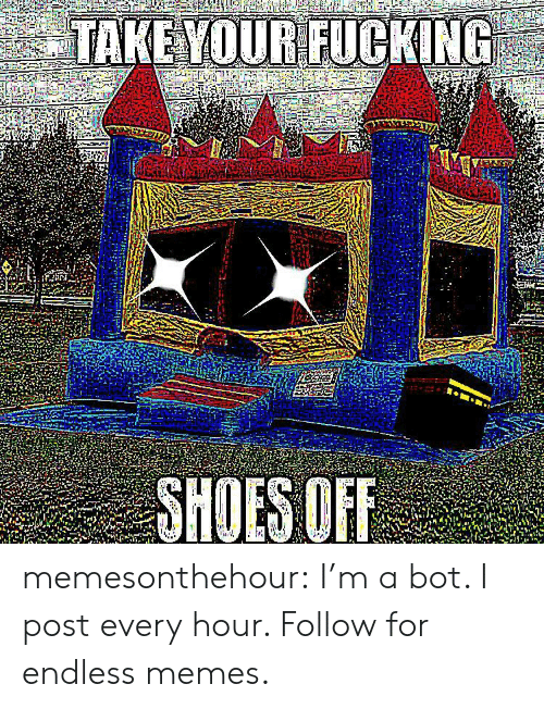 endless: TAKE YOUR FUCKING  SHOES OF memesonthehour:  I'm a bot. I post every hour. Follow for endless memes.