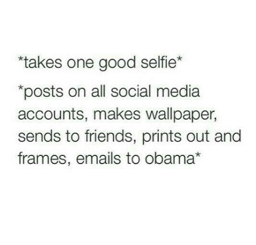 "Friends, Obama, and Selfie: ""takes one good selfie*  posts on all social media  accounts, makes wallpaper,  sends to friends, prints out and  frames, emails to obama*"