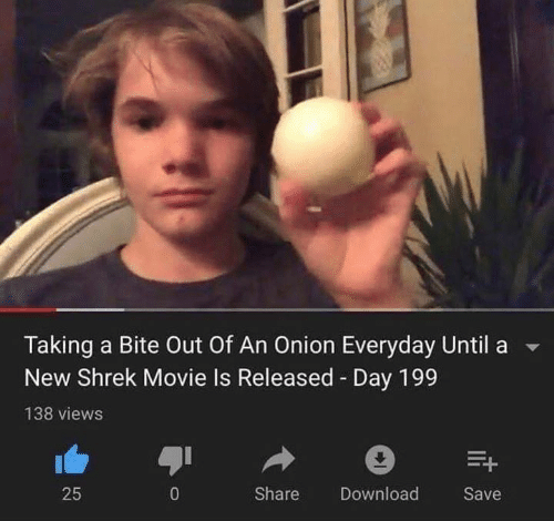Movie Is: Taking a Bite Out Of An Onion Everyday Until  New Shrek Movie Is Released Day 199  138 views  Share  25  0  Download  Save