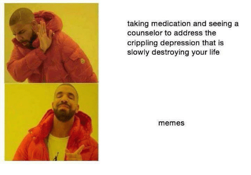 Life Meme: taking medication and seeing a  counselor to address the  crippling depression that is  slowly destroying your life  memes