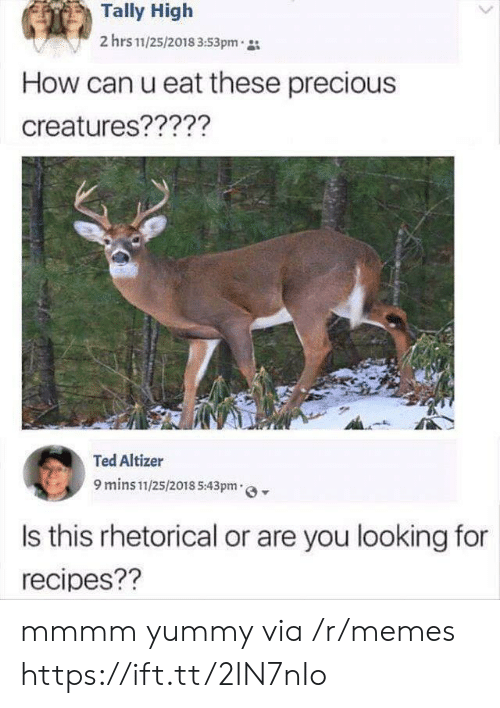 Ted: Tally High  2 hrs 11/25/2018 3:53pm  How can u eat these precious  creatures?????  Ted Altizer  9 mins 11/25/2018 5:43pm  Is this rhetorical or are you looking for  recipes?? mmmm yummy via /r/memes https://ift.tt/2IN7nIo