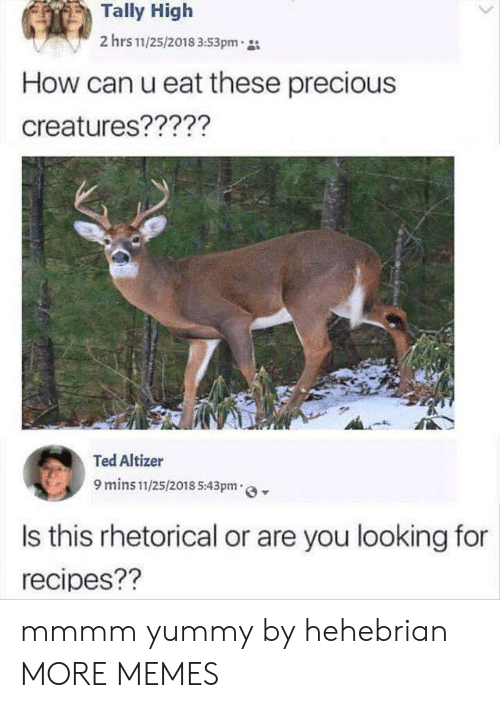 Ted: Tally High  2 hrs 11/25/2018 3:53pm  How can u eat these precious  creatures?????  Ted Altizer  9 mins 11/25/2018 5:43pm  Is this rhetorical or are you looking for  recipes?? mmmm yummy by hehebrian MORE MEMES