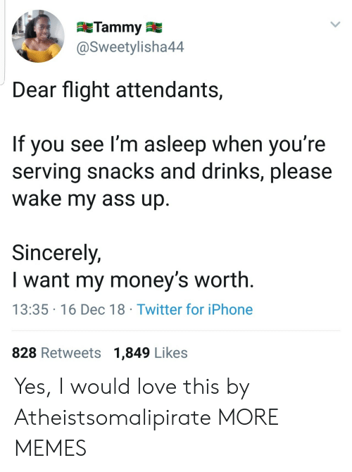 Ass, Dank, and Iphone: Tammy  @Sweetylisha44  Dear flight attendants,  If you see I'm asleep when you're  serving snacks and drinks, please  wake my ass up  Sincerely,  I want my money's worth.  13:35 16 Dec 18 Twitter for iPhone  828 Retweets 1,849 Likes Yes, I would love this by Atheistsomalipirate MORE MEMES