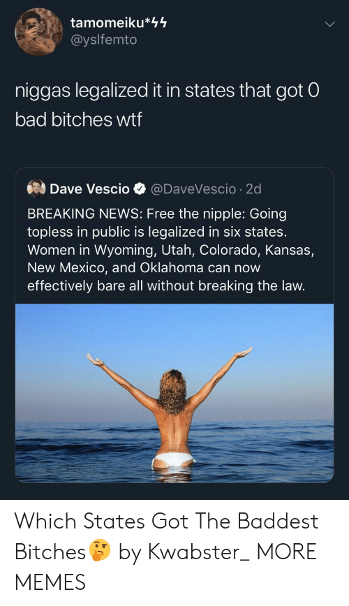 Bad, Dank, and Memes: tamomeiku*44  @yslfemto  niggas legalized it in states that got 0  bad bitches wtf  Dave Vescio  @DaveVescio 2d  BREAKING NEWS: Free the nipple: Going  topless in public is legalized in six states.  Women in Wyoming, Utah, Colorado, Kansas,  New Mexico, and Oklahoma can now  effectively bare all without breaking the law. Which States Got The Baddest Bitches🤔 by Kwabster_ MORE MEMES