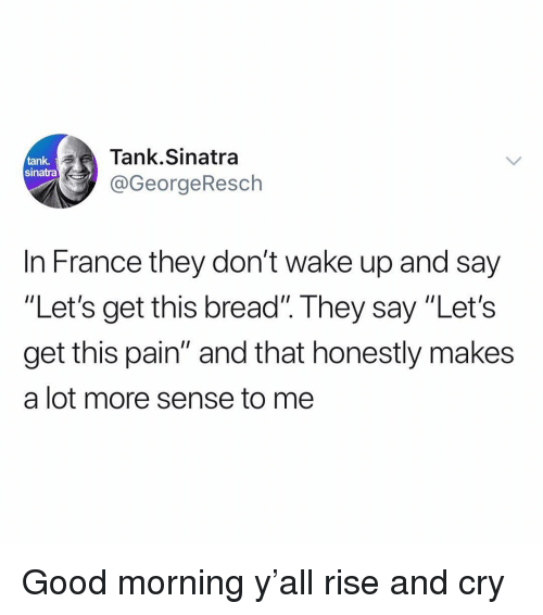 """Funny, Good Morning, and France: Tank.Sinatra  @GeorgeResch  tank  sinatra  In France they don't wake up and say  """"Let's get this bread"""". They say """"Let's  get this pain"""" and that honestly makes  a lot more sense to me Good morning y'all rise and cry"""
