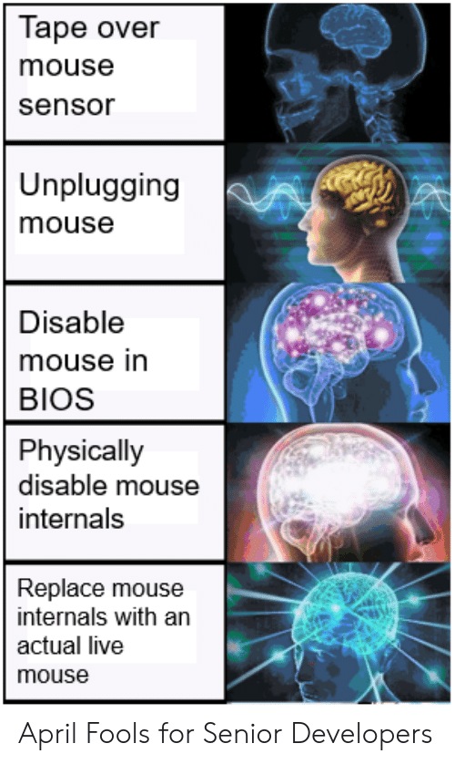 Live, Mouse, and April Fools: Tape over  mouse  sensor  Unplugging  mouse  Disable  mouse in  BIOS  Physically  disable mouse  internals  Replace mouse  internals with an  actual live  mouse April Fools for Senior Developers