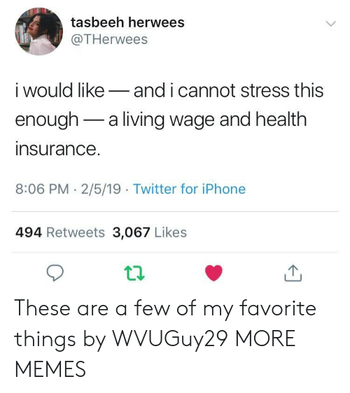 Favorite Things: tasbeeh herwees  @THerwees  i would likeand i cannot stress this  enough-a living wage and health  insurance  8:06 PM- 2/5/19 Twitter for iPhone  494 Retweets 3,067 Likes These are a few of my favorite things by WVUGuy29 MORE MEMES