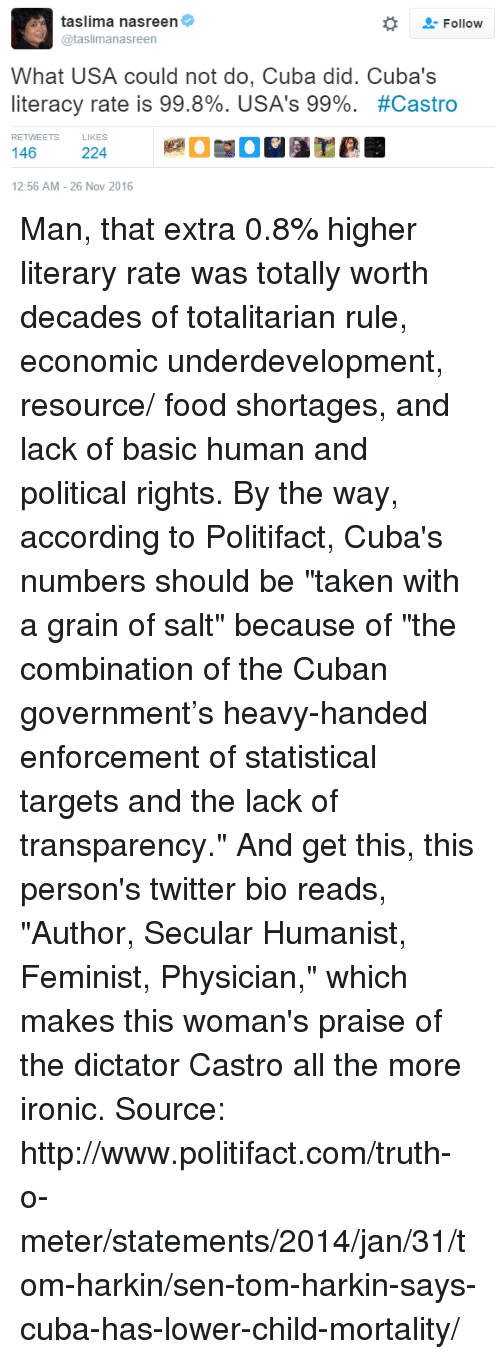 "Enforcer: taslima nasreen  Follow  @taslimanasreen  What USA could not do, Cuba did. Cuba's  literacy rate is 99.8%. USA's 99%  #Castro  RETWEETS  146  224  12:56 AM 26 Nov 2016 Man, that extra 0.8% higher literary rate was totally worth decades of totalitarian rule, economic underdevelopment, resource/ food shortages, and lack of basic human and political rights.   By the way, according to Politifact, Cuba's numbers should be ""taken with a grain of salt"" because of ""the combination of the Cuban government's heavy-handed enforcement of statistical targets and the lack of transparency.""  And get this, this person's twitter bio reads, ""Author, Secular Humanist, Feminist, Physician,"" which makes this woman's praise of the dictator Castro all the more ironic.   Source: http://www.politifact.com/truth-o-meter/statements/2014/jan/31/tom-harkin/sen-tom-harkin-says-cuba-has-lower-child-mortality/"