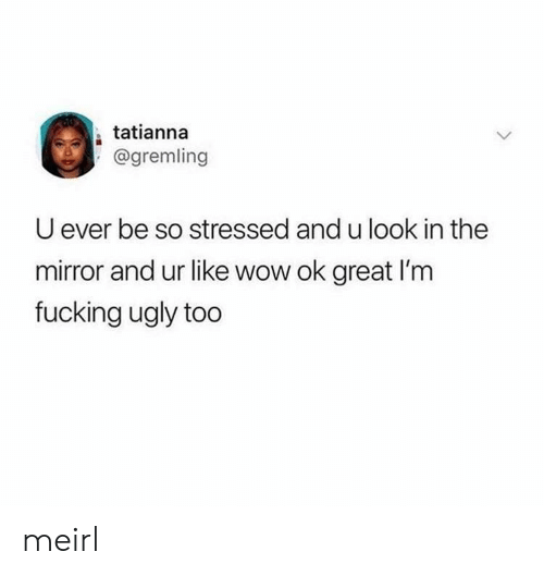 U Ever: tatianna  @gremling  U ever be so stressed and u look in the  mirror and ur like wow ok great I'm  fucking ugly too meirl