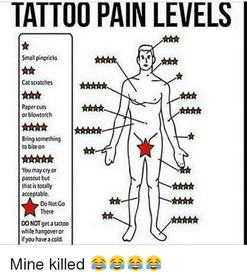 Have A Cold: TATTOO PAIN LEVELS  Small pinpricks  Cat scratches  Paper cuts  or blowtorch  Bring something  to bite on  You may cry or  passout but  that is totally  acceptable.  Do Not Go  There  DO NOT get tattoo  while hangowetor  if you have a cold. Mine killed 😂😂😂😂