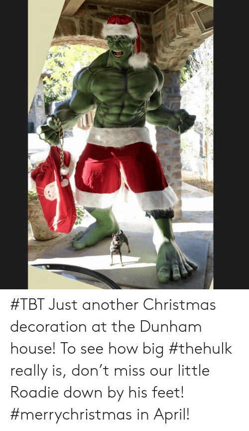 TBT: #TBT Just another Christmas decoration at the Dunham house! To see how big #thehulk really is, don't miss our little Roadie down by his feet! #merrychristmas in April!