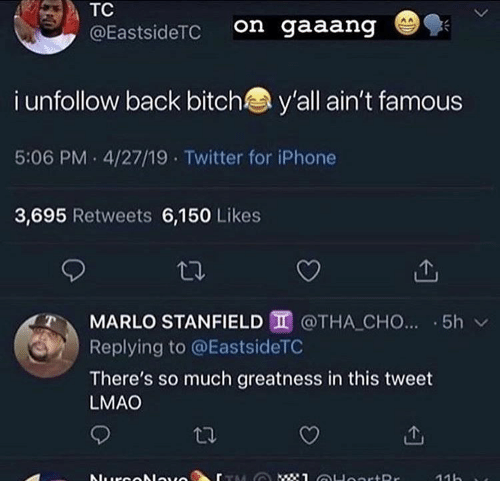 greatness: TC  on gaaang  @EastsideTC  i unfollow back bitch  y'all ain't famous  5:06 PM 4/27/19 Twitter for iPhone  3,695 Retweets 6,150 Likes  MARLO STANFIELD @THA CHO... 5h  Replying to @EastsideTC  There's so much greatness in this tweet  LMAO  : 1 OHoortRr  Nurcolauo  11h