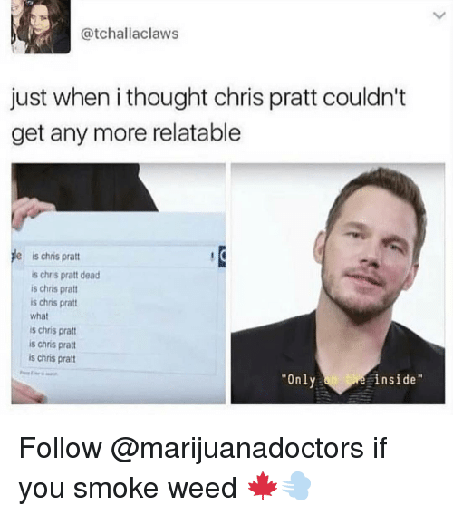"Chris Pratt, Memes, and Weed: @tchallaclaws  just when i thought chris pratt couldn't  get any more relatable  le is chris prat  is chris pratt dead  is chris pratt  is chris pratt  what  is chris prat  is chris pratt  is chris pratt  ""Only  inside Follow @marijuanadoctors if you smoke weed 🍁💨"