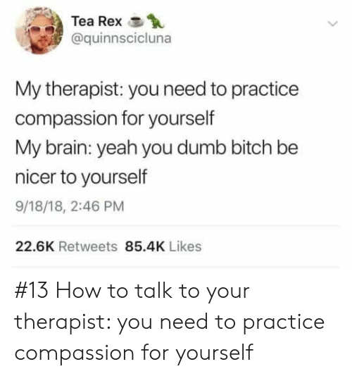 Bitch, Dumb, and Yeah: Tea Rex  @quinnscicluna  My therapist: you need to practice  compassion for yourself  My brain: yeah you dumb bitch be  nicer to yourself  9/18/18, 2:46 PM  22.6K Retweets 85.4K Likes #13 How to talk to your therapist: you need to practice compassion for yourself