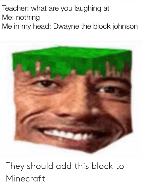 Head, Minecraft, and Reddit: Teacher: what are you laughing at  Me: nothing  Me in my head: Dwayne the block johnson They should add this block to Minecraft