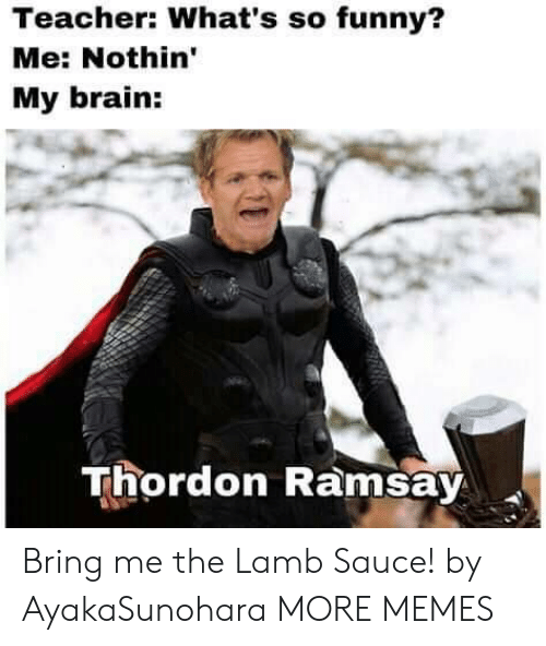 Dank, Funny, and Memes: Teacher: What's so funny?  Me: Nothin'  My brain:  Thordon Ramsay Bring me the Lamb Sauce! by AyakaSunohara MORE MEMES