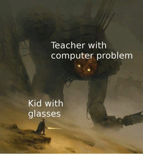 Teacher, Computer, and Glasses: Teacher with  computer problem  Kid with  glasses