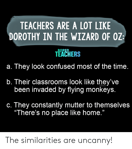 "Bored, Confused, and Home: TEACHERS ARE A LOT LIKE  DOROTHY IN THE WIZARD OF OZ  BORED  TEACHERS  a. They look confused most of the time.  b. Their classrooms look like they've  been invaded by flying monkeys.  TEACHERS  c. They constantly mutter to themselves  ""There's no place like home."" The similarities are uncanny!"