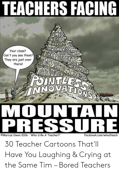 Cartoons: TEACHERS FACING  SATS  STAFF  BULLYING  WORKLOAD  AERWORK  FAKETARGETS  Your class?  TNSPECTIONS  FATICUE  POINTLESS  INNOVATIONS  Can't you see them?  They are just over  there!  POOR  RESOURGES  MOUNTAIN  PRESSURE  Facebook.com/whodteach  Marcus Owen 2016- Who'd Be A Teacher? 30 Teacher Cartoons That'll Have You Laughing & Crying at the Same Tim – Bored Teachers