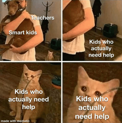 teachers: Teachers  Smart kids  Kids who  actually  need help  Kids who  Kids who  actually need  help  actually  need help  made with mematic