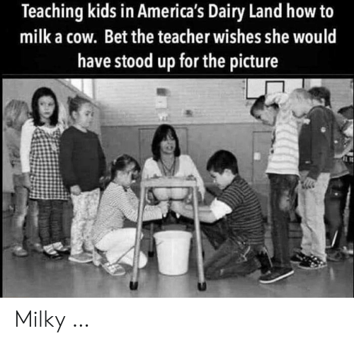 Teacher, How To, and Kids: Teaching kids in America's Dairy Land how to  milk a cow. Bet the teacher wishes she would  have stood up for the picture Milky …
