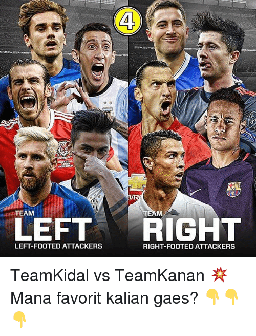favoritism: TEAM  LEFT RIGHT  LEFT-FOOTED ATTACKERS  RIGHT-FOOTED ATTACKERS TeamKidal vs TeamKanan 💥 Mana favorit kalian gaes? 👇👇👇