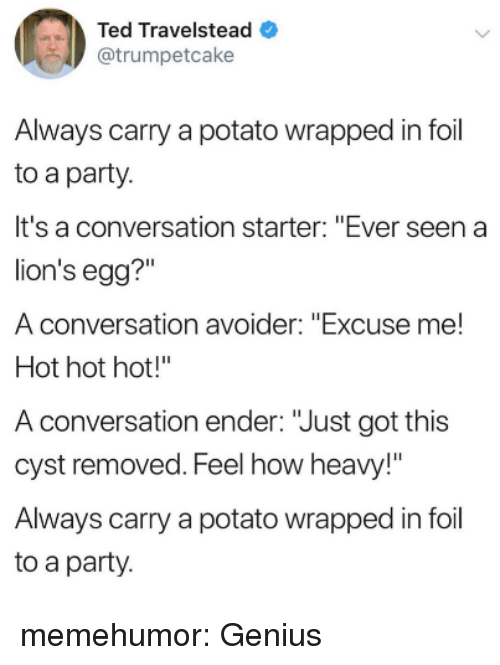 """ender: Ted Travelstead  @trumpetcake  Always carry a potato wrapped in foil  to a party.  It's a conversation starter: """"Ever seen a  lion's egg?""""  A conversation avoider: """"Excuse me!  Hot hot hot!""""  A conversation ender: """"Just got this  cyst removed. Feel how heavy!""""  Always carry a potato wrapped in foil  to a party memehumor:  Genius"""