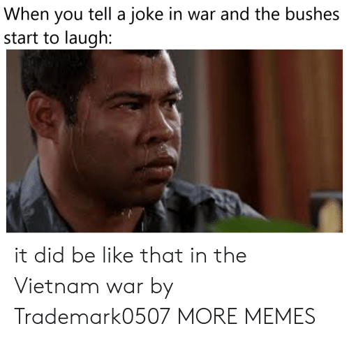 Vietnam: tell a joke in war and the bushes  When  you  start to laugh: it did be like that in the Vietnam war by Trademark0507 MORE MEMES