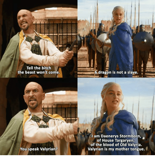 house targaryen: Tell the bitch  the beast won't come.  You speak Valyrian?  A dragon is not a slave  I am Daenerys Stormborn,  of House Targaryen,  of the blood of Old Valyria.  Valyrian is my mother tongue.