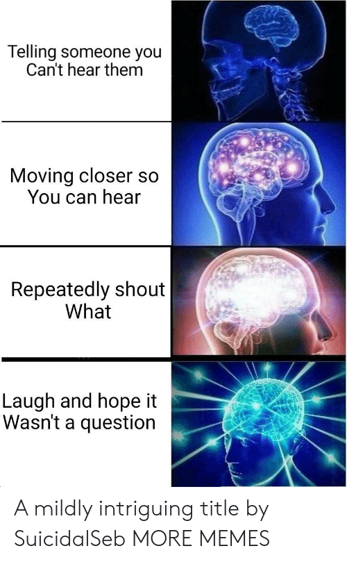 Dank, Memes, and Target: Telling someone you  Can't hear them  Moving closer so  You can hear  Repeatedly shout  What  Laugh and hope it  Wasn't a question A mildly intriguing title by SuicidalSeb MORE MEMES
