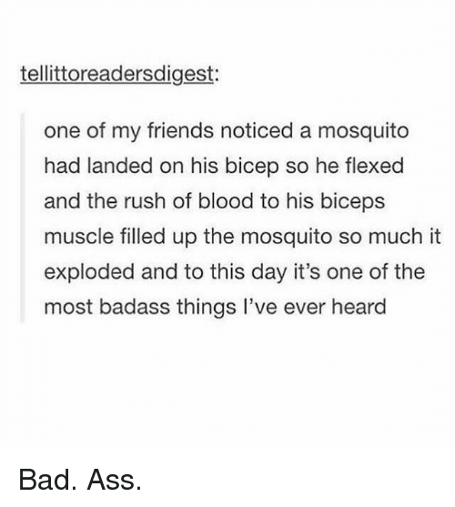 Badass Things: tellittoreadersdigest:  one of my friends noticed a mosquito  had landed on his bicep so he flexed  and the rush of blood to his biceps  muscle filled up the mosquito so much it  exploded and to this day it's one of the  most badass things l've ever heard Bad. Ass.