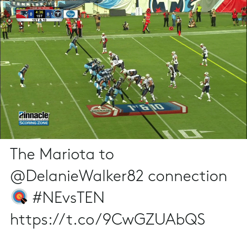 Scoring: TENNESS  TITANS NETWORK  4:36  1ST 0T  1ST & 10  Kroger  NISSAN  Pinnacler  FINANCIAL PARTNERS  SCORING ZONE The Mariota to @DelanieWalker82 connection 🎯  #NEvsTEN https://t.co/9CwGZUAbQS