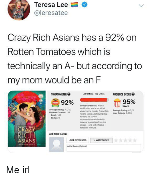 dazzle: Teresa Lee  @leresatee  Crazy Rich Asians has a 92% on  Rotten Tomatoes which is  technically an A- but according to  my mom would be an F  TOMATOMETER  All Critics | Top Critics  AUDIENCE SCORE O  92% сп  Critics Consensus: With a  terrific cast and a surfet ot  visual razzle dazzle, Crazy Rich Average Rating 47  Asians takes  forward for screen  representation while defty  drawing inspiration from the  classic-and stil effective-  rom.com formula  uked it  Average Rating 7.7/10  a satistying step User Ratings:893  Rotten: 9  CRAZY  ADD YOUR RATING  ASIANS  NOT INTERESTED  WANT TO SEE  Add a Review Optional Me irl