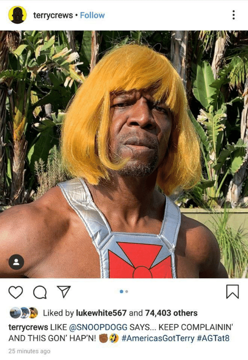Gon, This, and Like: terrycrews Follow  Liked by lukewhite567 and 74,403 others  terrycrews LIKE @SNOOPDOGG SAYS... KEEP COMPLAININ'  #AmericasGotTerry #AGTat8  AND THIS GON' HAP'N!  25 minutes ago