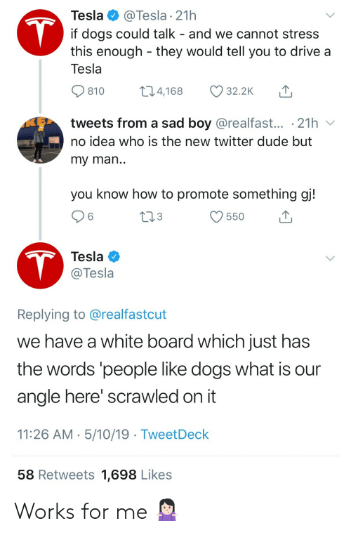 Dogs, Dude, and Twitter: Tesla  @Tesla 21h  T  if dogs could talk - and we cannot stress  this enough they would tell you to drive a  Tesla  t1.4,168  32.2K  810  tweets from a sad boy @realfast... .21h  no idea who is the new twitter dude but  my man..  you know how to promote something gj!  tl3  550  T  Tesla  @Tesla  Replying to @realfastcut  we have a white board which just has  the words 'people like dogs what is  angle here' scrawled on it  11:26 AM 5/10/19 TweetDeck  58 Retweets 1,698 Likes Works for me 🤷🏻‍♀️
