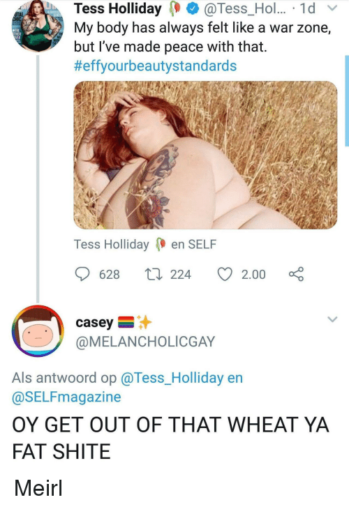 als: Tess Holliday@Tess_Hol.. 1d  My body has always felt like a war zone,  but 've made peace with that.  #effyourbeautystandards  OTAL  THE  THER  Tess Holliday en SELF  628  224  2.00  casey  @MELANCHOLICGAY  Als antwoord op @Tess_Holliday en  @SELFmagazine  OY GET OUT OF THAT WHEAT YA  FAT SHITE Meirl