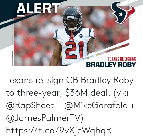 Texans: Texans re-sign CB Bradley Roby to three-year, $36M deal. (via @RapSheet + @MikeGarafolo + @JamesPalmerTV) https://t.co/9vXjcWqhqR