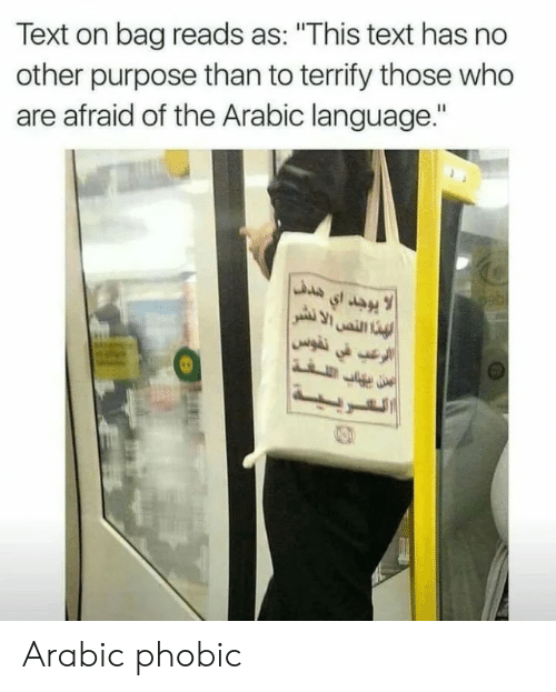 "No Other: Text on bag reads as: ""This text has no  other purpose than to terrify those who  are afraid of the Arabic language."" Arabic phobic"