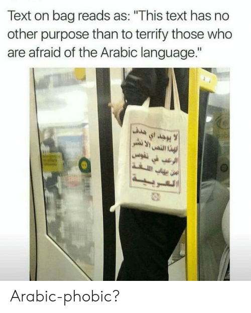 "No Other: Text on bag reads as: ""This text has no  other purpose than to terrify those who  are afraid of the Arabic language."" Arabic-phobic?"