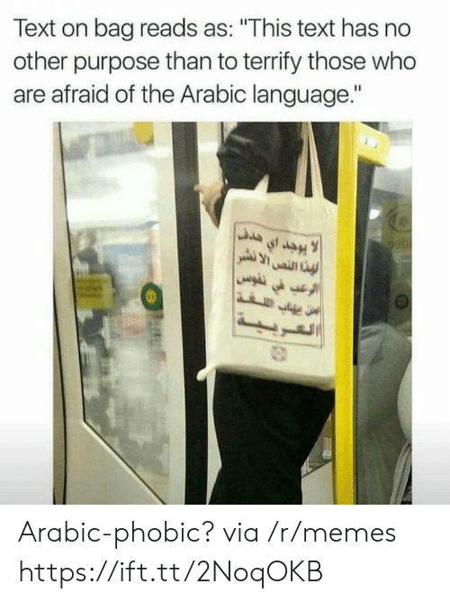 "No Other: Text on bag reads as: ""This text has no  other purpose than to terrify those who  are afraid of the Arabic language."" Arabic-phobic? via /r/memes https://ift.tt/2NoqOKB"
