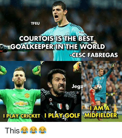 Memes, Best, and World: TFEU  COURTOIS IS THE BEST  %GOALKEEPERIN THE WORLD  7  CESC FABREGAS  Jegz  -I AM This😂😂😂