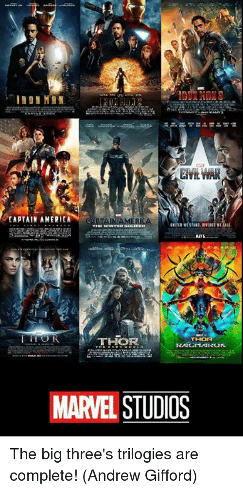 Memes, Marvel, and Thor: TH  THOR  MARVEL STUDIOS The big three's trilogies are complete!  (Andrew Gifford)