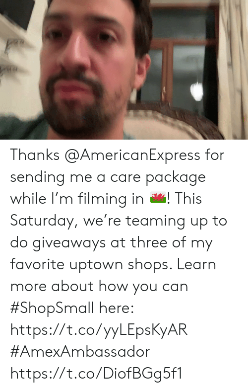 Memes, 🤖, and How: Thanks @AmericanExpress for sending me a care package while I'm filming in 🏴󠁧󠁢󠁷󠁬󠁳󠁿! This Saturday, we're teaming up to do giveaways at three of my favorite uptown shops. Learn more about how you can #ShopSmall here: https://t.co/yyLEpsKyAR #AmexAmbassador https://t.co/DiofBGg5f1